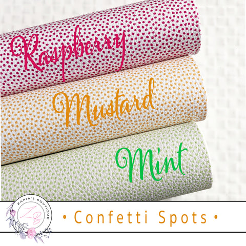 ⋅ Confetti Dots ⋅ Raspberry Mustard Mint Spots ⋅ Custom Luxe Grain Vegan Faux Leather