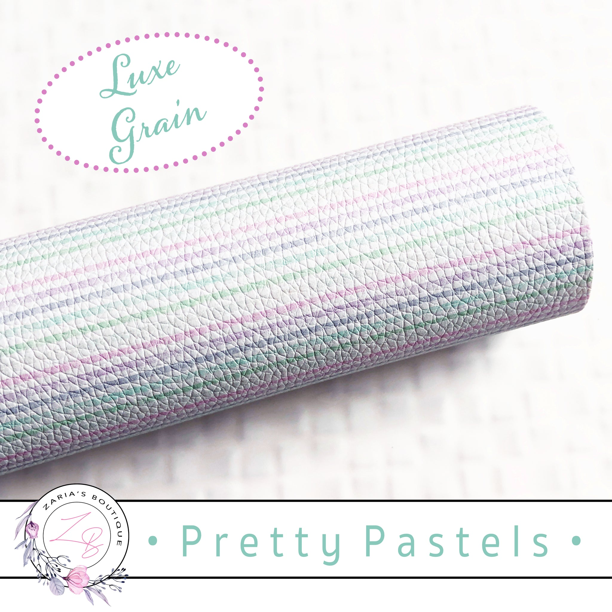 ⋅ Pretty Pastels ⋅ Pink Green Lavender Stripes ⋅ Custom Luxe Grain Vegan Faux Leather