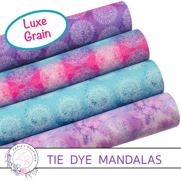 Tie Dye Mandalas • Pinks • Blues • Purples • Luxe Grain Vegan Faux Leather