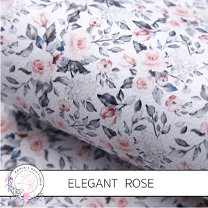 Elegant Rose ~ Blush Pink & Grey Floral Vegan Faux Leather