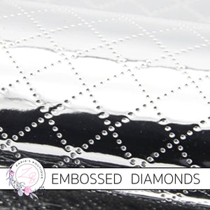 Embossed Diamond Faux Leather ~ Silver