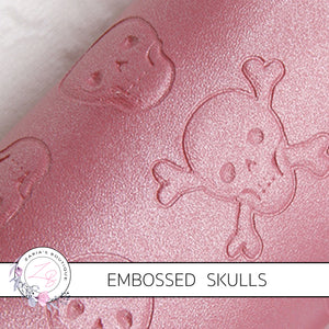 Pink Pearl Embossed Skulls ~ Halloween Faux Leather ~ .60mm