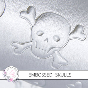 Embossed Silver Pearl Skulls ~ Halloween Faux Leather ~ .60mm