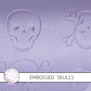 Purple Pearl Skulls ~ Embossed Halloween Faux Leather ~ .60mm