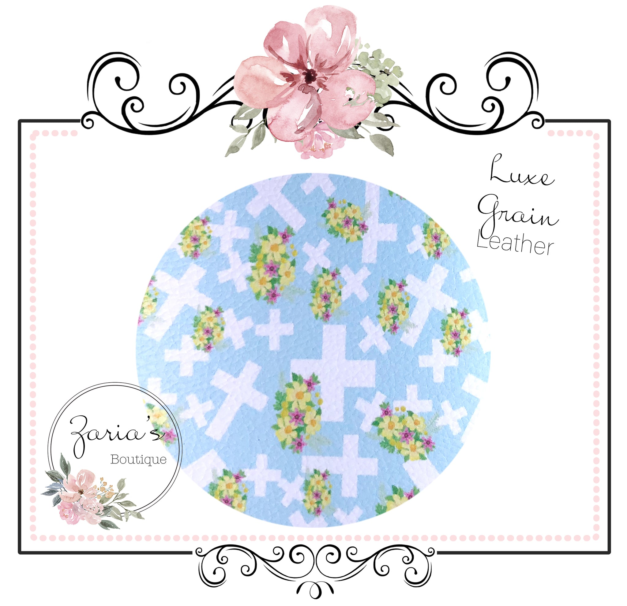 SALE HALF PRICE!!  Easter Cross ~ Floral Religious Pastel Luxe Faux Leather
