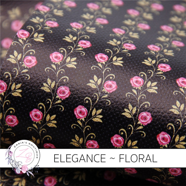 Elegance ~  Luxe Grain Faux Leather ~ Black, Gold & Pink Floral