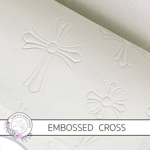Embossed Cross Religious ~ White Faux Leather ~ .60mm