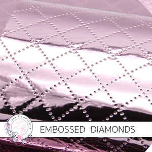 Embossed Diamonds ~ Pink ~ Faux Leather ~ 0.7mm