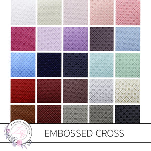 Embossed Cross • Textured Vegan Faux Leather • 25 Colours