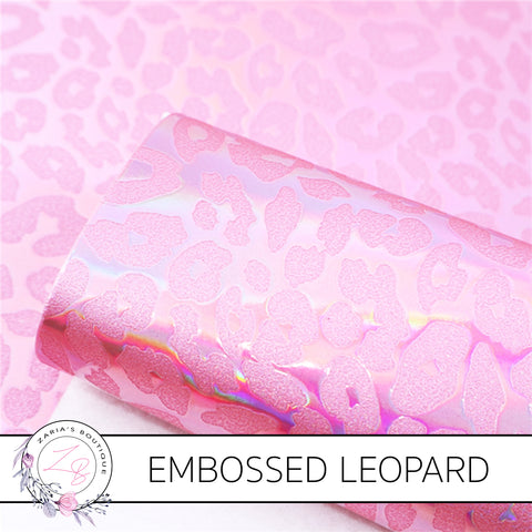 Pink Metallic Leopard Print ~ Vegan Faux Leather
