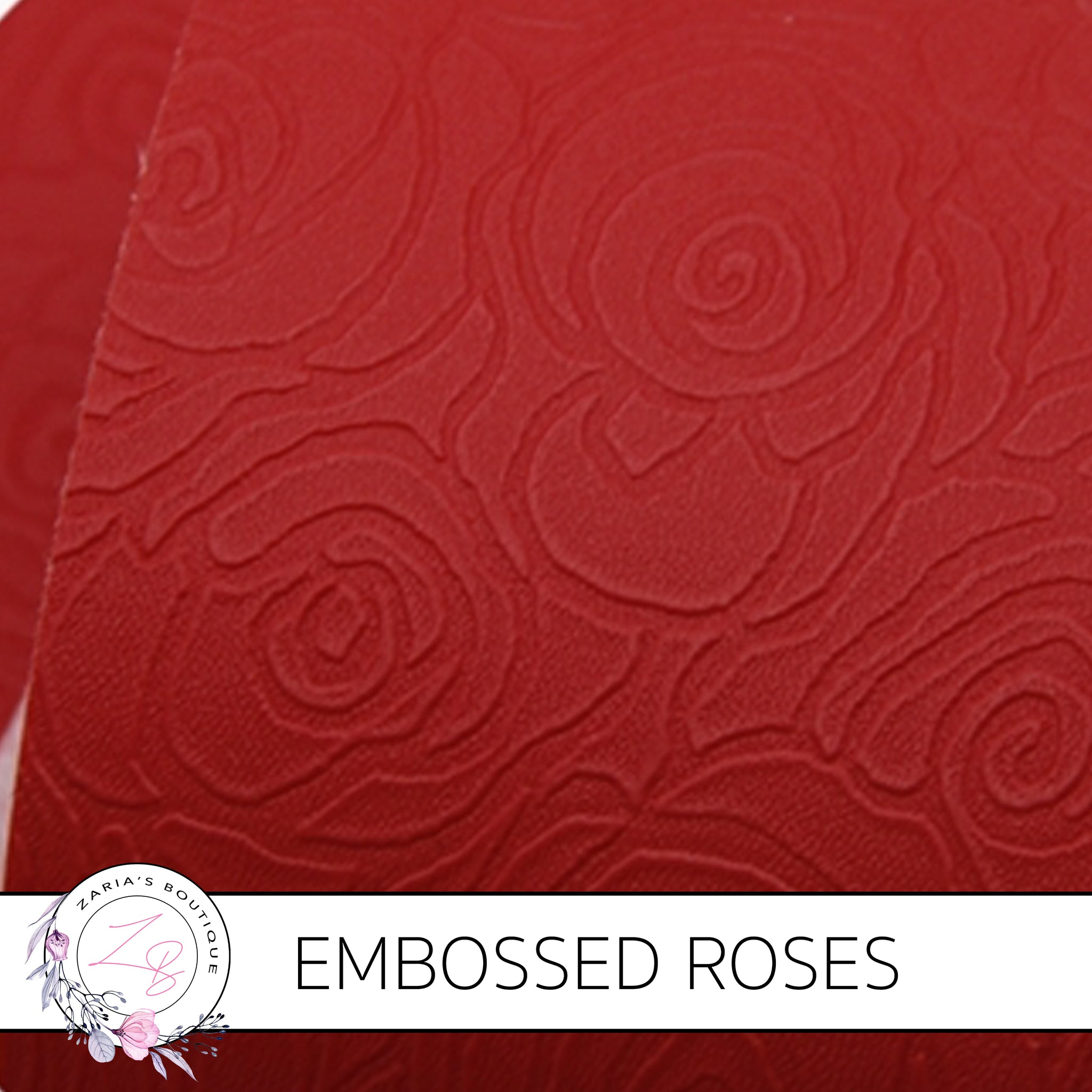 Embossed Roses ~ Red ~ Vegan Faux Leather ~ 0.60mm