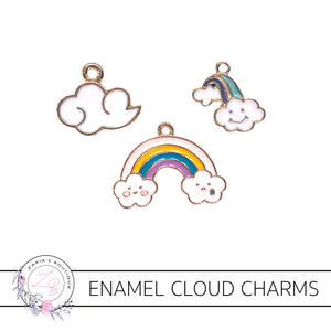 Cloud & Rainbow Charms  ~ Quality Enamel/Metal Embellishments ~ 3 designs