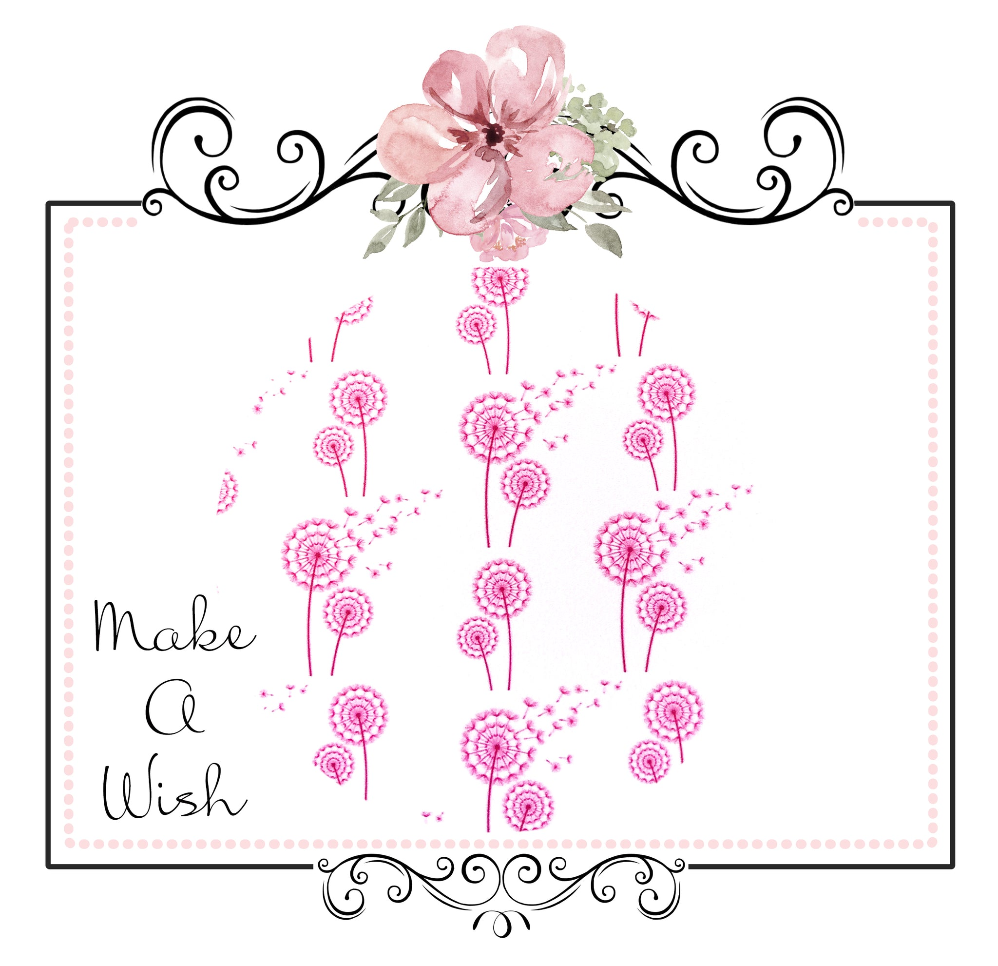 Exclusive Make A Wish Dandelions ~ Pink ~ Smooth Faux Leather Bow Fabric Sheets
