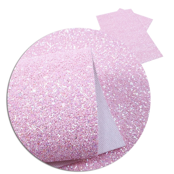 Fairy Floss Pink ~ Chunky Glitter Faux Leather Fabric Sheets ~ 20 x 34cm
