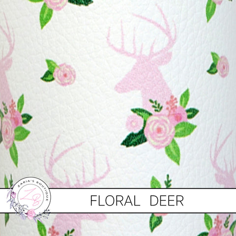 Pink Floral Deer ~ Faux Leather ~ 1mm