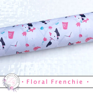 • Floral Frenchie • Vegan Luxe Grain Faux Leather Dog Print