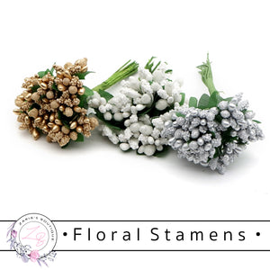 Flower Stamens • White • Gold • Silver