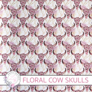 Custom Floral Cow Skull Vegan Faux Leather