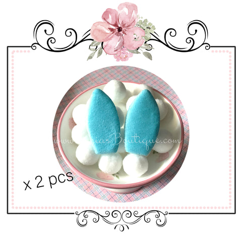 Soft Bunny Rabbit Ears ~  Blue ~ Easter Embellishment x 2 pieces