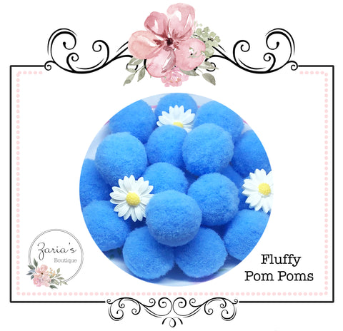 25mm Pom Poms ~ Soft Bunny Rabbit Tails ~ Blue ~ Easter Embellishment x 10 pieces