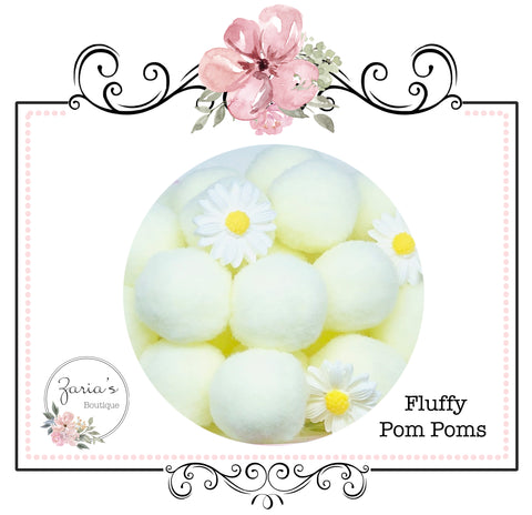 25mm Pom Poms ~ Soft Bunny Rabbit Tails ~ Ivory Cream ~ Easter Embellishment x 10 pieces