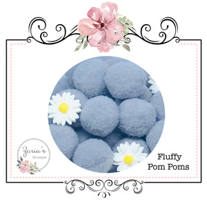 25mm Pom Poms ~ Soft Bunny Rabbit Tails ~ Grey ~ Easter Embellishment x 10 pieces