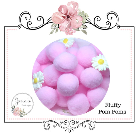 Pom Poms ~ Soft Bunny Rabbit Tails ~  Pink ~ Easter Embellishment x 10 pieces