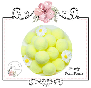 Pom Poms ~ Soft Bunny Rabbit Tails ~ Lemon Yellow ~ Easter Embellishment x 10 pieces