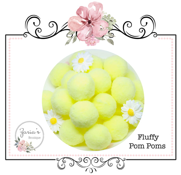 25mm Pom Poms ~ Soft Bunny Rabbit Tails ~  White ~ Easter Embellishment x 10 pieces