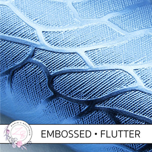 Embossed Flutter Wing •  Metallic Blue Textured Craft Fabric