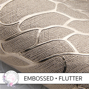 Embossed Flutter Wing • Metallic Champagne Gold Textured Craft Fabric