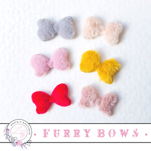 ⋅ Furry Bows ⋅ Fluffy Bow Embellishment Applique ⋅ 6 Colours