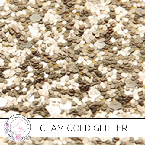 Glam Light Gold • Medium Glitter Faux Leather Fabric Sheets