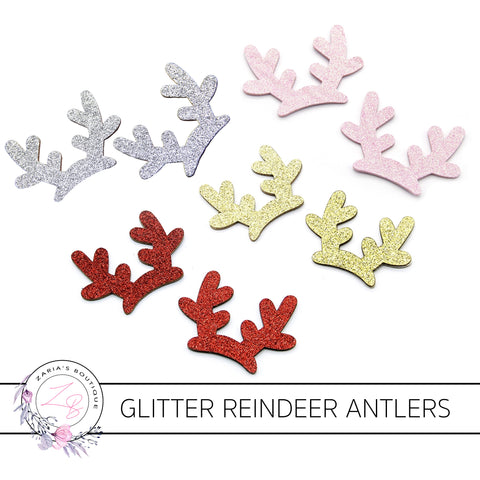 Glitter Reindeer Antlers ~ Christmas Embellishment ~ Red, Pink, Gold or Silver - Pair