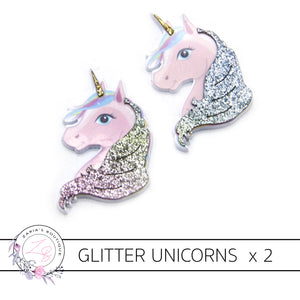 Glitter Unicorn Flat Back Resin Embellishment x 2 Pieces