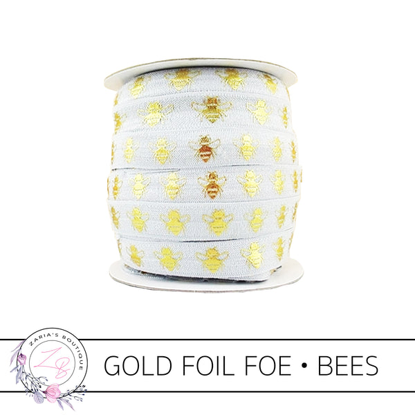FOE • Gold Foil Embossed Bees • Yellow • Headband Elastic • Fold Over Elastic