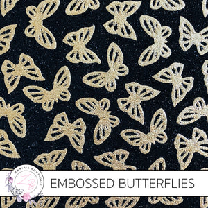 Embossed Gold & Black Butterfly Glitter