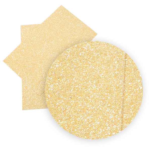 Golden Sands Yellow ~ Chunky Glitter Faux Leather Wiggle Fabric Sheets