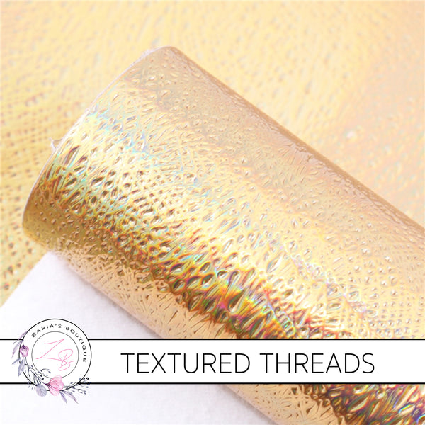 Textured Threads Holo Faux Leather Leatherette ~ Gold ~ 0.86mm