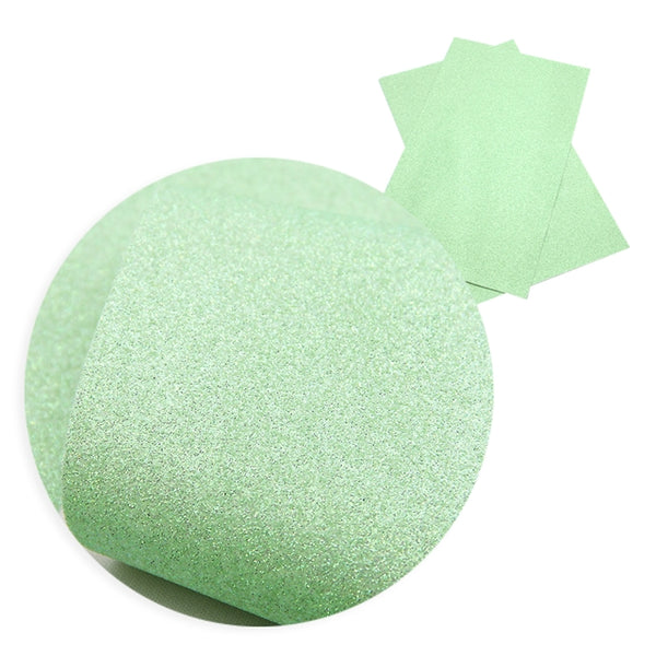 Apple ~ Green Fine Glitter Faux Leather Fabric Sheets