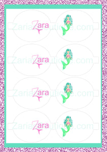 Mermaid Name Bows ~ Custom Printed Canvas Sheets ~ Green ~ Bow Making