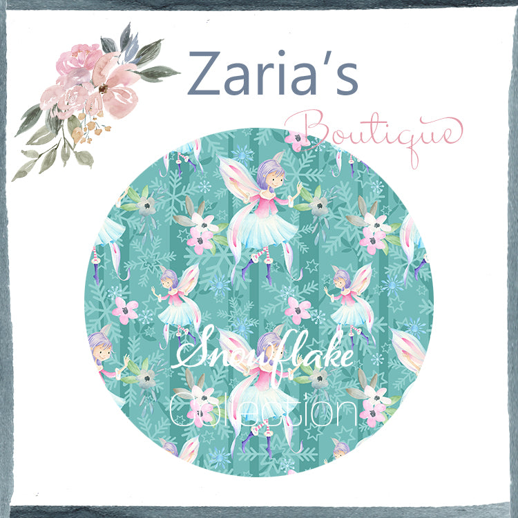 Snowflake Collection ~ Printed Canvas Sheets ~ Teal & White Snowflakes & Fairies