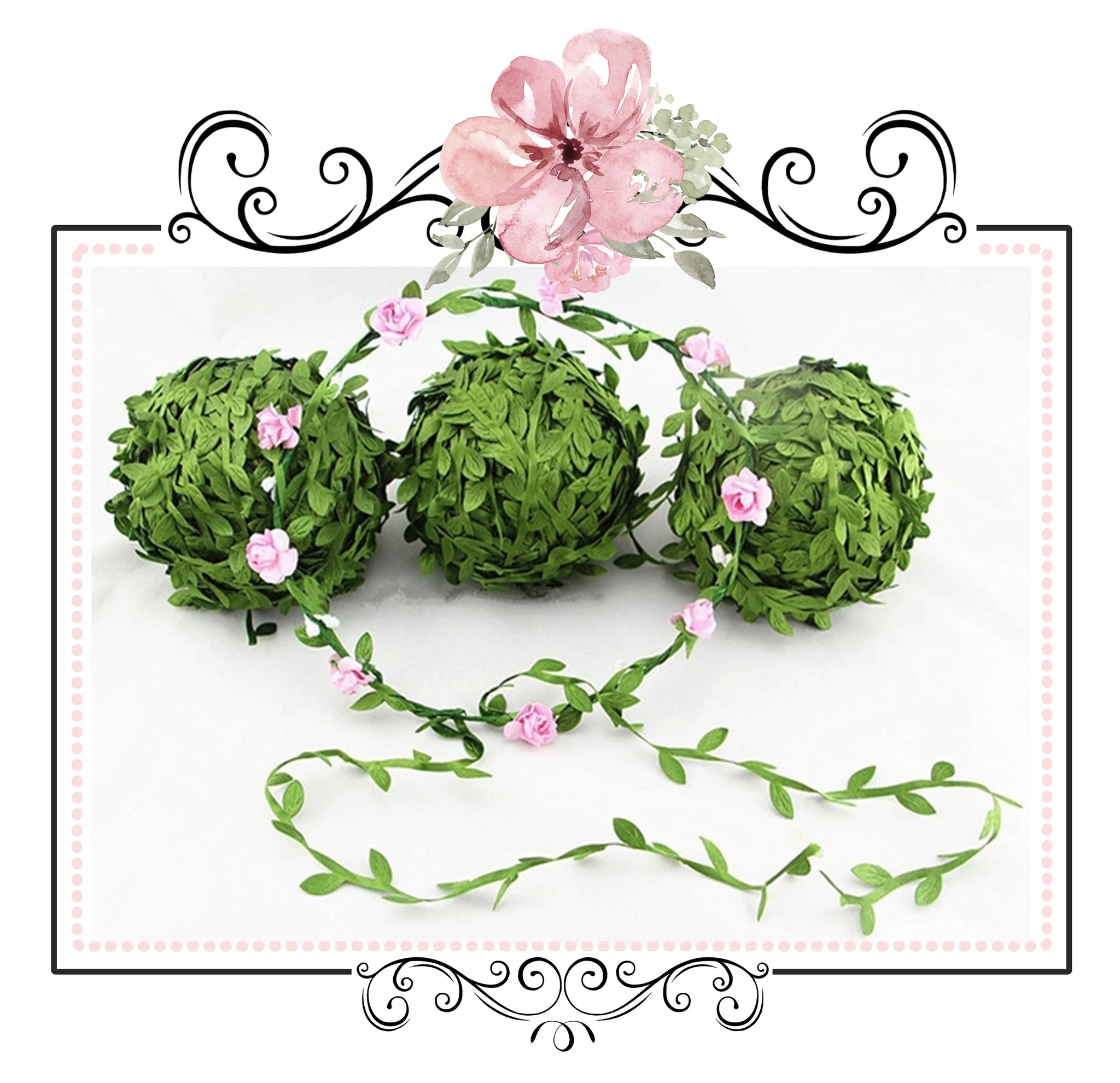 Green Vine Trim ~ Embossed Leaf ~ Flower Crown Ribbon ~ 1 Yard