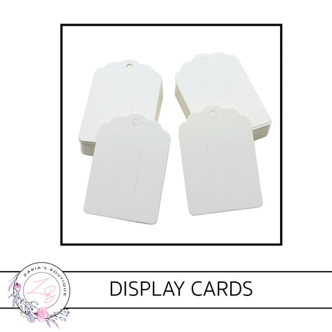 Bow & Hair Clip Display Cards • 8.7 X 6cm • White • packs of 10/25 cards
