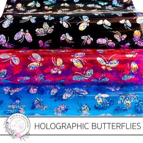 Holographic Silver Butterfly on Transparent Pink ~ Blue or Black PU