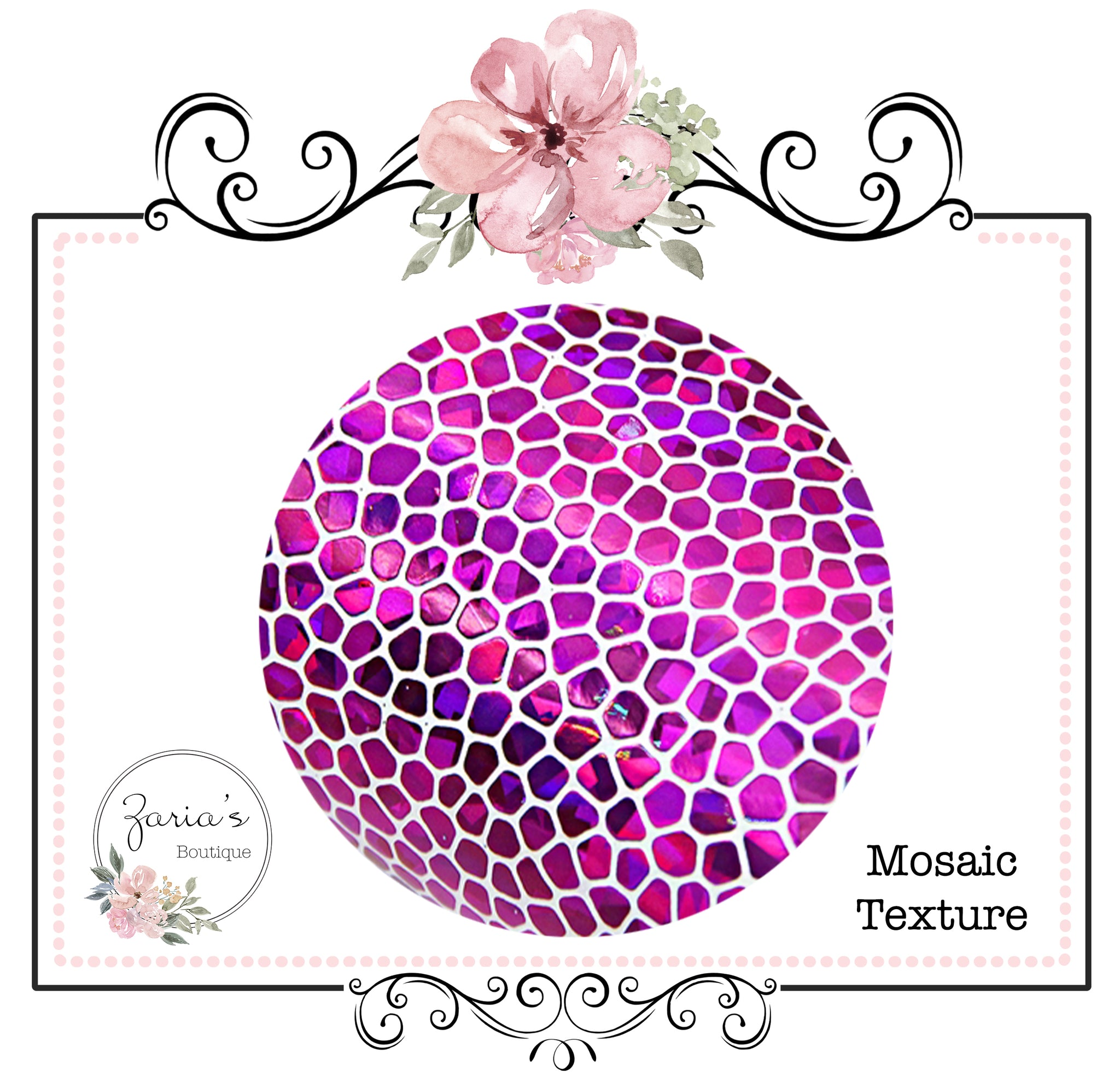 Mosaic Pattern Textured Faux Leather ~ Hot Pink ~ 0.54mm