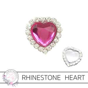Rhinestone Heart Flat Back Embellishment • Hot Pink