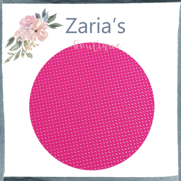 Hot Pink & Gold Polka Dots Faux Leather Fabric Sheet