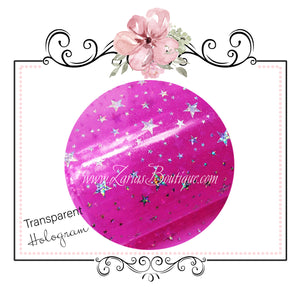Transparent Hologram Stars ~ Hot Pink & Silver ~ Bow Making ~ Craft Fabric Sheets
