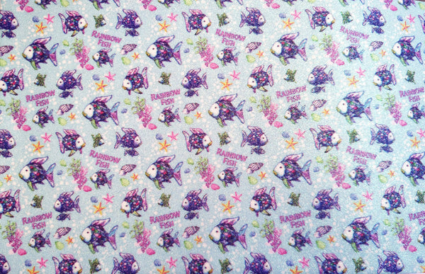 Rainbow Fish Fine Patterned Glitter Faux Leather Craft Fabric